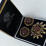 Vintage Demi-Parure Synthetic Garnet Brooch & Earrings