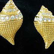 Vintage KJL Kenneth Lane Gold Tone Rhinestone Shell Earrings