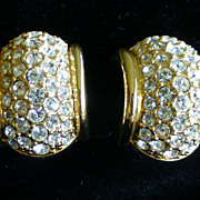 Vintage Swarovski Rhinestone Laden Earrings MINT