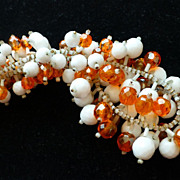 Vintage KRAMER Milk Glass and Orange Bead Dangle Fringe Collar Necklace