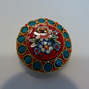 Vintage Micro Mosaic Millefiori Floral Brooch Pin Italy