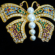 Vintage Carolee Bejeweled Butterfly Brooch  Rhinestones and Glass Pearls