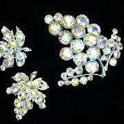 Vintage BSK Borealis Crystal Rhinestone Grape Cluster Brooch  Earring Set