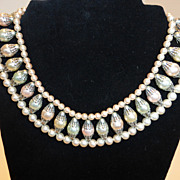 Fabulous 1950's Faux Pearl Collar Necklace