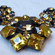 Signed Schreiner Topaz Rhinestone Brooch and Earrings