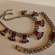 Gorgeous 1950's Ruby Red & Clear Rhinestone Necklace & Bracelet Set