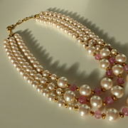 Vintage Richelieu Triple Strand Faux Pearl & Pink Moonstone Necklace