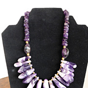 Vintage Snow Crocus Amethyst Nugget Necklace