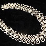 Crown Trifari Gold Tone Scroll Necklace