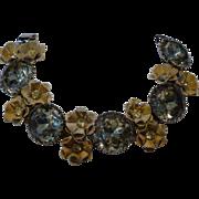 Vintage Enamel and Citron Rhinestone Bracelet