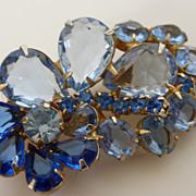 Vintage  DeLizza & Elster Juliana Blue Rhinestone Pin Brooch