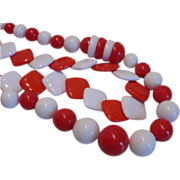Vintage Red And White Molded Lucite Plastic Necklace Pair