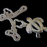Sterling Silver Silhouette Sea Turtle Pendant Necklace