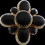 Vintage Large Black Glass Brooch Pin