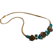Trifari TM Poured Glass Sea Shell and Beach Glass Necklace