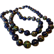 Vintage Chinese Blue Cloisonné Bead Necklace