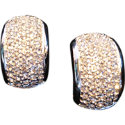 Vintage Christian Dior Pave Rhinestone Clip-on Earrings