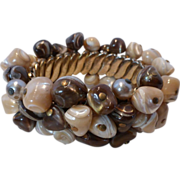 Fabulous Cha Cha Expansion Bracelet w Chocolate Nugget Beads and Faux Pearls
