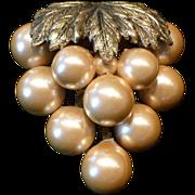 Faux Pearl Grape Cluster Dress Clip