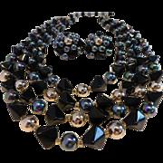 Beautiful Iridescent Bead Black Glass Four Strand Necklace Earrings Set Japan