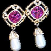 Vintage Big Swarovski Tourmaline Pink Crystal Rhinestone Drop Faux Pearl Earrings