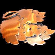 Vintage Copper Modernistic Leaf Brooch