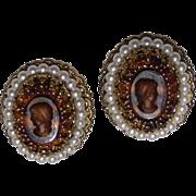 Vintage Glass Cameo Earrings W. Germany