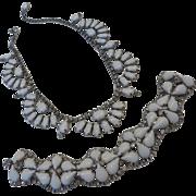 KRAMER White Milk Glass & Crystal Rhinestone Necklace Bracelet Demi-Parure Set