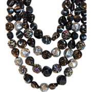 Iridescent Black Art Glass Bead Four Strand Necklace