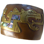 Vintage Mixed Metal & Abalone Quetzalcoatl, Feathered Serpent Cuff Bracelet