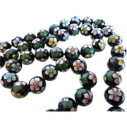 Vintage Chinese Black Cloisonné Bead Necklace