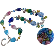 Venetian Millefiori Pendant Art Glass Bead Necklace