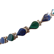 Vintage 950 Sterling Silver Lapis and Malachite Bracelet