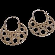 Vintage Sterling Silver Stylized Hoop Earrings Mexico
