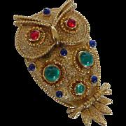 Vintage Jonette  J.J. Figural Bejeweled Owl Pin