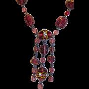 Vintage Venetian Murano Wedding Cake or Lamp-work Glass Bead Necklace