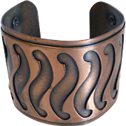 Vintage Wide Copper Cuff Bracelet Modern Design