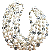Magnificent Kenneth Lane Signed Faux Pearl & Cut Crystal Bead Six Strand Necklace