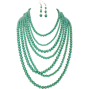 Fabulous Seven Strand Green Plastic Bead Necklace and Earring Set