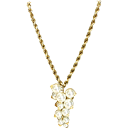 Vintage Faux Pearl & Crystal Cluster Drop Gold Tone Necklace