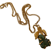 Vintage Signed B.S.K. Jade Nugget Textured Gold Tone Pendant Necklace
