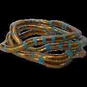 Vintage Coil Wrap Gold Tone & Turquoise Enamel Cleopatra Bracelet Or Necklace