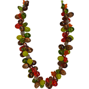 West Germany Plastic Fruit Salad Fall Harvest Necklace