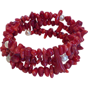 Vintage Red Branch Coral & Pearl Wire Wrap Bracelet