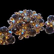 Elegant Topaz Rhinestone Brooch and Earrings Set