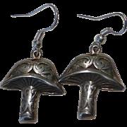 Vintage Sterling Silver Mushroom Earrings