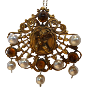 Miriam Haskell Cherub Brooch Necklace with Faux Pearls and Amber Glass Stones