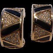 Vintage Christian Dior Black Enamel Crystal Rhinestone Earrings