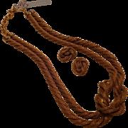 Vintage Sarah Cavender Metalworks Mesh Rope Knot Necklace & Earrings
