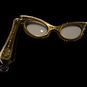 SOLD Lorgnette Folding Opera Glasses Cat Eyes with Rhinestones 1950's